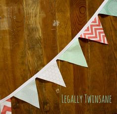 Fabric Bunting banner mint green coral white by LegallyTwinsane, $13.00