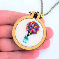 Your place to buy and sell all things handmade Miniatur-Stickerei Baloon House Halskette oder Brosche winzige Embroidery Patterns Free, Embroidery Hoop Art, Hand Embroidery Designs, Cross Stitch Embroidery, Creative Embroidery, Balloon House, Antique Brass, Sewing, Monogram Jewelry
