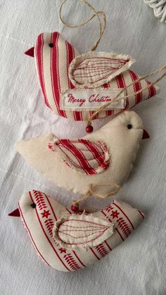 Beautiful fabric doves for Christmas  Priscilla Mae et al