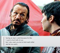 Bronn is captain of the Jaime x Brienne ship