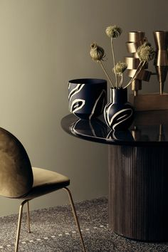 GUBI // Moon Table and Beetle Chair // gold Dining room Decor, Interior Inspiration, Danish Design, Interior Styling, Beetle Chair, Coffee Table, Moon Table, Home Decor, Furniture Design