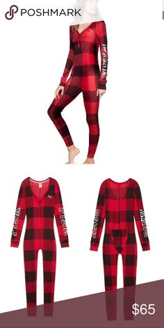 NEW VS Pink Bling holiday onesie pajamas New in package Victoria's Secret Pink holiday onesie pajamas Red Buffalo check print Snap flap in the back Cozy waffle fabric weave PINK Victoria's Secret Intimates & Sleepwear Pajamas