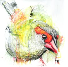 Meaghan Potter, Lines Between Recognising (Red Bower Finch)  , 2017, Watercolour, Ink and Conte Charcoal on Arches 300gsm Watercolour paper, 100 x 100 cm, .M Contemporary, Art Gallery, 37 Ocean St, Woollahra, NSW, enquire at gallery@mcontemp.com