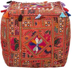$100 Off Artisan Weaver Embroidered Patchwork Pouf