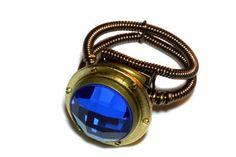 Steampunk Jewelry - RING - Brass Porthole and Sapphire blue checker glass jewel - SIZE 11