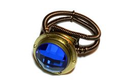 Steampunk Jewelry - RING - Brass Porthole and Sapphire blue checker glass jewel - SIZE 11
