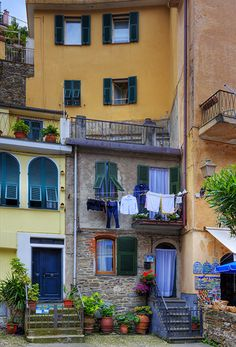 Village Life in Vernazza, one of the five towns that make up the Cinque Terre region.