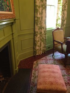 Fab lacquer green walls interior study .. Interior design by Parker Kennedy Living Interiors
