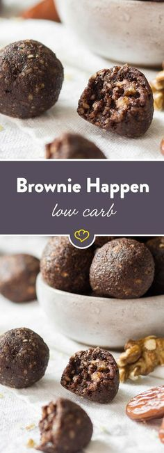 soft, low-carb brownie bites - Brownies always taste good. Refined with walnuts and dates, they become a low-calorie snack in the -Extra soft, low-carb brownie bites - Brownies always taste good. Refined with w. Low Calorie Snacks, Low Carb Sweets, Vegan Sweets, Low Carb Desserts, Healthy Sweets, Healthy Dessert Recipes, Low Carb Recipes, Snacks Recipes, Healthy Cookies
