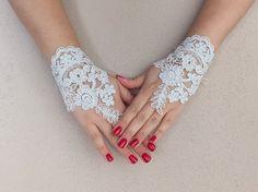 Libre nave, guantes de novia, blanco, plata bordado cordón guantes, guantes Fingerless, pun ¢ o boda novia, guantes de novia, blancos,