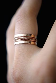 Rose Gold Twist stacking ring set of 5 rose gold by hannahnaomi