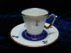 Rare Art Deco hand painted gilded Langenthal Suisse porcelain coffee cup saucer