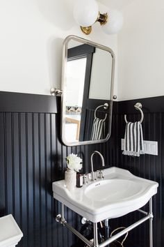 Studio McGee | Black Wainscoting | Black and White Bathroom Idea