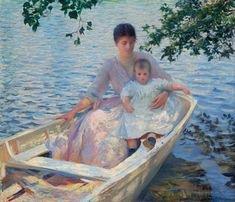 Edmund C. Tarbell (American 1862–1938) [Impressionism, Portrait, The Ten] Mother and Child in a Boat, 1892.