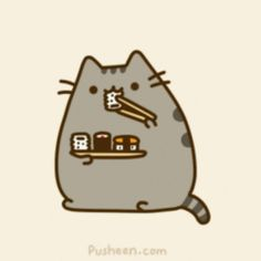 Pusheen and sushi! bahahaha ... poor sushi, he never had a chance. this is bound…