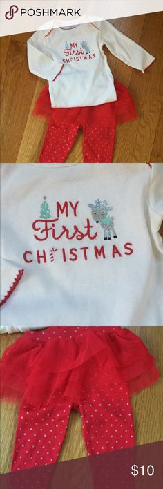 NWOT Baby's my 1st Christmas Outfit New with out tags. Sweetest my 1st Christmas outfit with body suit top and all in one tutu and pant. Pants have silver polka dots. carters Matching Sets