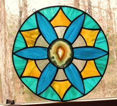 Stained Glass Panel  Round Panel with Agate  Amber Clear