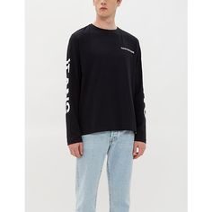 Ck Jeans Logo- Print Cotton Long-sleeved T-shirt In Ck Black Ck Jeans, Jogging Bottoms, Jean Top, Calvin Klein Jeans, Printed Cotton, Logo, Long Sleeve, Casual, Mens Tops
