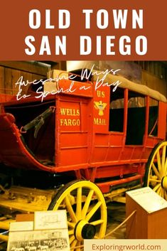 Old Town San Diego preserves the history of this California coastal city. See the colorful area with its stables, homes, schoolhouse, Whaley House, shops. #OldTown #SanDiego #WhaleyHouse