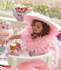 pink feather boa hat-Chasing Fireflies tea party!