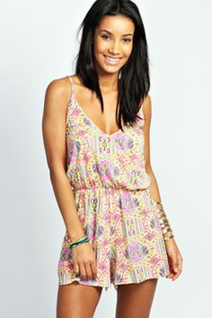 Pheobe Neon Paisley Strappy Cross Front Playsuit at boohoo.com