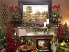 Country christmas mantel at the shop