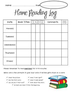 Reading Log printable #reading #early readers #reading program ...
