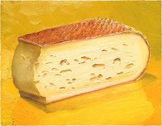"""Grayson"" a delicious cheese that ""looks like Taleggio. Smells like Feete."" This award-winning cheese is a product of the strict ecological farming practices of the Virginia Feete family. Using the raw milk of their 80-head herd of Jersey cows"".  Original oil painting, 8x10"", available for sale at mikegeno.com  #cheese #cheeseportrait #cheeseart #foodart #painting #foodpainting #virginiacheese"