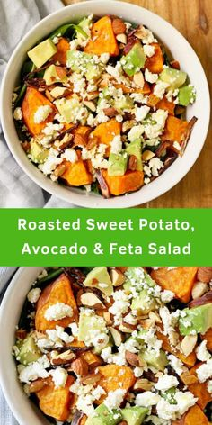 Tired of boring salads? Try this Roasted Sweet Potato, Avocado and Feta Salad … Tired of boring salads? Try this Roasted Sweet Potato, Avocado and Feta Salad with Honey Lemon Vinaigrette. Filled with ingredients that. Lunch Snacks, Clean Eating Snacks, Healthy Eating, Salad Recipes For Dinner, Healthy Salad Recipes, Healthy Salads For Dinner, Healthy Roast Dinner, Dinner Salads, Healthy Lunches