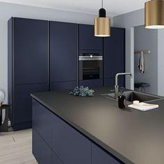 European Kitchen Cabinets, Kitchen Cabinets For Sale, European Kitchens, Kitchen Cabinet Design, Black Kitchens, Modern Kitchen Design, Home Kitchens, Dark Blue Kitchen Cabinets, Dark Grey Kitchen