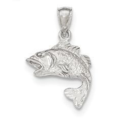 14k White Gold Polished & Textured Bass Pendant