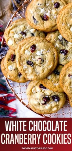 White Chocolate Cranberry Cookies are a festive, tasty treat perfect for any holiday table or cookie exchange! The tart cranberries and sweet white chocolate create the perfect cookie! White Chocolate Cranberry Cookies, Cranberry Orange Bread, White Chocolate Chips, Buttery Cookies, Chocolate Chip Recipes, Perfect Cookie, Cookies Ingredients, Cookie Exchange, Fun Cookies
