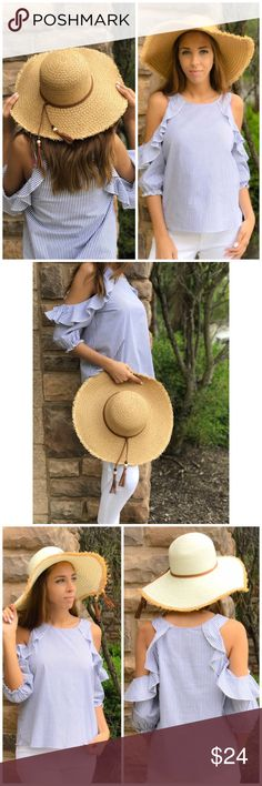 Tan Boater Hat Cream boater Floppy Hat. Features adorable fringe Tassel detail. Comes in cream or tan. Accessories Hats