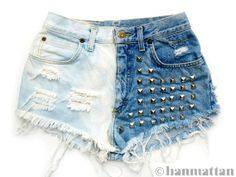"Hanmattan ""DOMINO"" vintage high waisted studded denim cutoff shorts ombre dip dyed hot pants from HanMattan on Etsy. Studded Shorts, Ripped Jean Shorts, Studded Denim, Denim Cutoff Shorts, Blue Jean Shorts, Distressed Denim Shorts, High Waisted Shorts, Waisted Denim, Dip Dye Shorts"