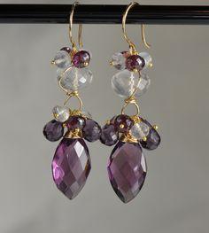 Plum Quartz Moonstone Gemstone Dangle Earrings by skyvalleyjewelry