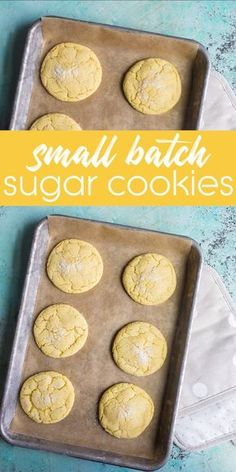 Next time you want sugar cookies, make a small batch recipe that makes just 6 cookies. Perfect for cooking with kids and those learning how to make. Small batch cookies for the win! Sugar Cookie Recipe Small Batch, Small Batch Baking, Cookie Recipes For Kids, Baking Recipes, Small Batch Of Cookies, Baking Ideas, Chocolate Chip Cookies, Vegan Sugar Cookies, Brownie Cookies