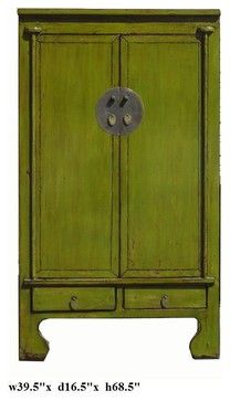 Chinese Lime Green Lacquer Moon Face Tall Cabinet Armoire asian dressers chests and bedroom armoires