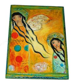 Hope and Love Angel  Giclee print mounted on Wood  by FlorLarios, $35.00