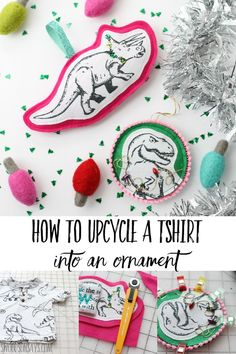 See how to turn an old tshirt into a funky DIY Christmas ornament with this easy sewing tutorial for beginners! Upcycled tshirt ornaments can be classic or modern, add hand embroidery and other embellishments to make them your own. Christmas Sewing, Diy Christmas Ornaments, Homemade Christmas, Old Tshirt Quilt, Diy Craft Projects, Sewing Projects, Upcycling Projects, Craft Ideas, Project Ideas