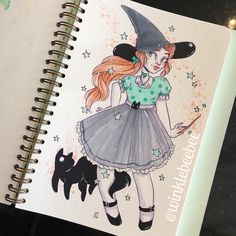 October 23rd #inktober drawing [Vintage Witch]. Just a lil' classic witch ✨ #inktober2017 #winklebeebeeinktober #dailydrawing #mosseryco #mossery #copicmarkers #halloweenseason #blackcats #witchbabes #illustratenow #abeautifulmessapp