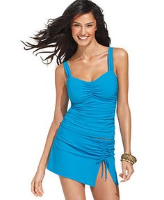 Profile by Gottex Swimsuit, Ruched Tankini Top & Ruched Skirted Swim Bottom - Womens Swimwear - Macy's. For water park/fat days
