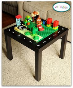 13 Life Hacks for Parents Lego table created using Ikea LACK Side table (black for $7.99)