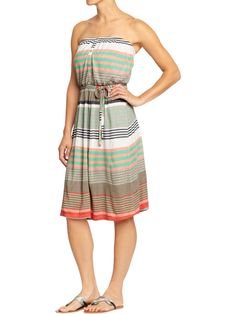 Striped Button-Front Tube Dresses