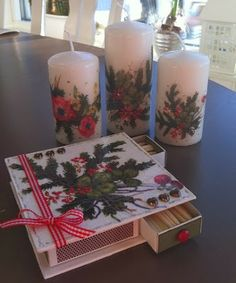 BEAUTIFUL CHRISTMAS CANDLES AND MATCHBOX MADE WITH Decoupage Calambour PAPER PAU 67 BY ANNELIE GUSTAVSSON  BELLISSIME CANDELE E SCATOLA DI FIAMMIFERI DECORATI CON CARTA CALAMBOUR PAU 67 DA ANNELIE GUSTAVSSON  http://annelieskort.blogspot.se/2013/11/tandsticksask-ljus.html