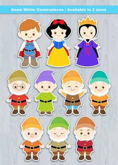 Snow White Centerpiece Digital File INSTANT DOWNLOAD  * This is Printable file (PDF) and no physical items will be mailed to you.   ----------------------- ★★ Package Included ★★-----------------------------------  You will received * 1 PDF file of 10 Characters neatly layout in 8.5 x 11 Baby Snow White, Snow White Cake, Baby In Snow, Snow White Centerpiece, Imagenes Free, Snow White Characters, Snow White Birthday, Felt Patterns, Disney Drawings