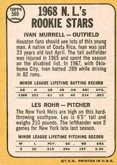 1968 Topps #569 N.L. Rookies - Ivan Murrell / Les Rohr Back