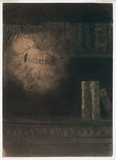 """Redon """"The Teeth"""" (1883). Charcoal and chalk on paper."""