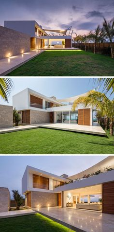 This modern beach house has a stone walkway that brings you to the front of the home where you can enter through the front door or the sliding patio doors. The patio can be enclosed by glass doors, and for extra security when the home owners are away and to protect the interior from the sun, wood brise-soleils covers slide over the glass doors.
