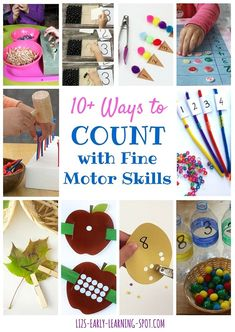 Links to many fun ways to practice counting while improving fine motor skills!