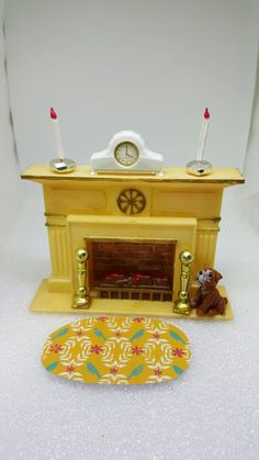 Marx Little Hostess Fire Place Furniture hard plastic Hearth fireplace #dollhouseminiatures #couponhello20